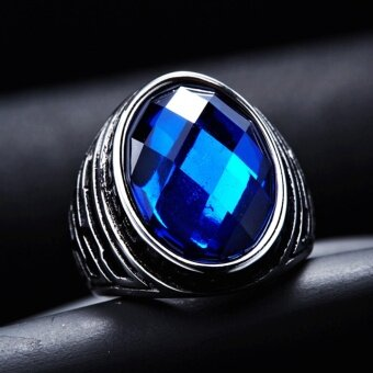 Harga MagiDeal Vintage Oval Faceted Blue Sapphire Ring Jewelry US 7#