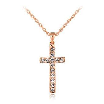 Harga Lady Trendy Cross Shape Pendant Czech Stone Embellishment Three Times Plating Tin Alloy Necklace (Gold) - intl