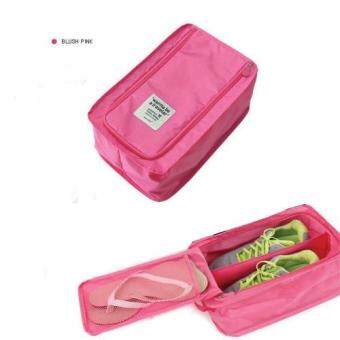Harga กระเป๋ารองเท้า กระเป๋าใส่รองเท้า Shoes Pouch Portable Shoes Organizer Shoes Bag ชมพู