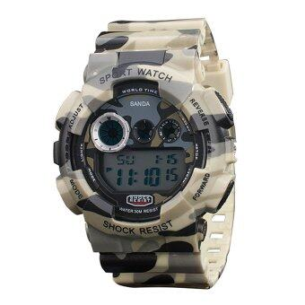 Harga JinGle LED Digital Sports Multifunction Military Wrist Watch (Beige)