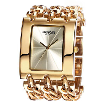 Harga WEIQIN Brand Women Luxury Fashion Gold Square Shaped Dial Bangle Watches 278101(Gold) - Intl