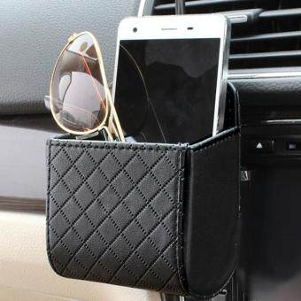 Harga Beau PU Leather Cars Vehicle Trash Mobile Phone Storage Holder Pouch Bag Organizer Black - intl