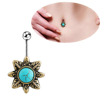 Harga Phoenix B2C Retro Natural Turquoise Belly Button Navel Bar Ring Body Piercing Barbell Gift (Intl)