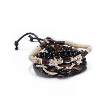 Harga Lovers Fasion Europe And The United States Fashion Retro Leather Cowhide Bracelet Brown Bracelet (Brown) - intl