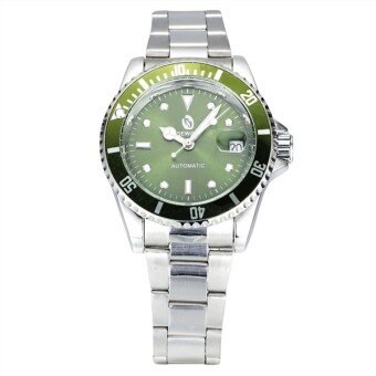Harga Men Automatic Mechanical Wrist Watch with Steel Band (Green+Silver)