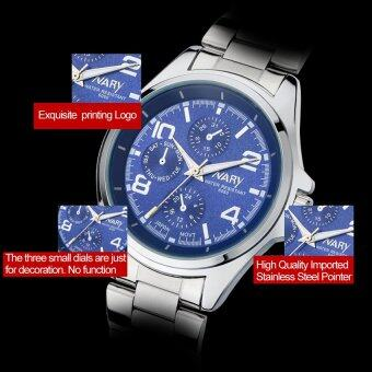 Harga 2016 Best Quality NARY 6050 Men's Classical Stainless Steel Band Quartz Watch (blue)