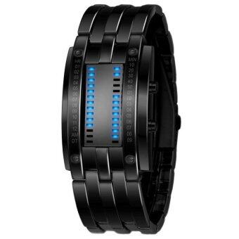 Harga Men's Black Stainless Steel Date Digital LED Bracelet Sport Watches Black - intl