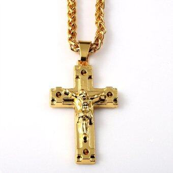 Harga High quality 18K thick gold plating new Jesus cross tide men and women fashion hip hop hip hop Necklace - Intl