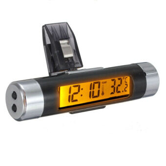 Harga Car Air Vent Clip-on Stick On Electronic Clock +Thermometer Digital LCD Display Orange
