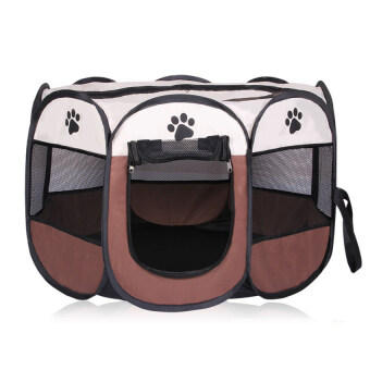 Harga Pet Dog Bed Kennel Play Pen Soft Playpen Cage Folding Crate Brown–L Size - intl