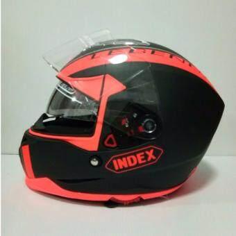 INDEX หมวกกันน๊อคเต็มใบ รุ่น LEGENDA (i-shield) หน้ากาก 2 ชั้น สีดำด้าน/คาดส้มด้าน นวมภายในถอดซักได้