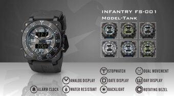 INFANTRY Mens Digital Quartz Wrist Watch Dual Time Military CamoBlack Rubber - 2 ...