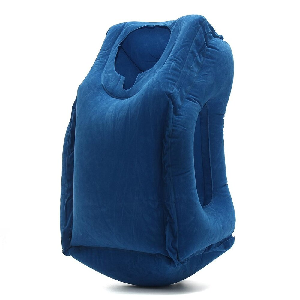 office nap pillow. Inflatable Air Travel Pillow Airplane Neck Head Chin Cushion Office Nap Blue - Intl H