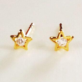 INSPIRE JEWELRY ต่างหูรูปดาวฝังเพชรสวิส หุ้มทองแท้ 100% 24K