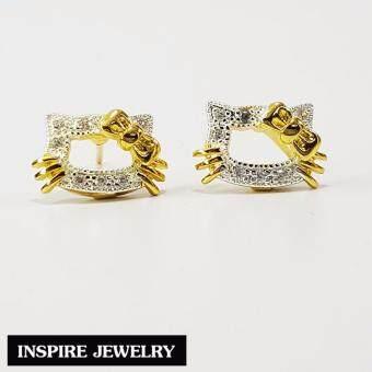 Inspire Jewelry ,ต่างหูแมว ฝังเพชร ตัวเรือนหุ้มทองแท้ 100% 24K สวยหรู พร้อมถุงกำมะหยี่ (image 4)