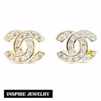 Inspire Jewelry ต่างหูCN ฝังเพชร งานจิวเวลลี่ หุ้มทองแท้ 100% 24K สวยหรู ขนาด 8 MM พร้อมถุงกำมะหยี่ (พิเศษ สำหรับผิวแพ้ง่ายมาก)