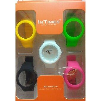 ประเทศไทย Intimes Color Pop นาฬิกาข้อมือ เซต 5 สี รุ่น01 หน้าปัดขาว