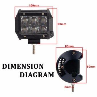 "iRemax 18 W LED 4"" ไฟสปอตไลต์ LED Off Road Light Bar ไฟตัดหมอกมอเตอร์ไซต์ ATV ออฟโรด 6 ดวง (จำนวน 2ชิ้น)-ไฟสีขาว - 4"