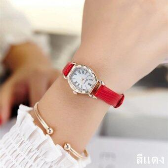 ประเทศไทย JJ แฟชั่นผู้หญิง Watch นาฬิกาข้อมือผู้หญิง สายหนังพียู รุ่น (red)