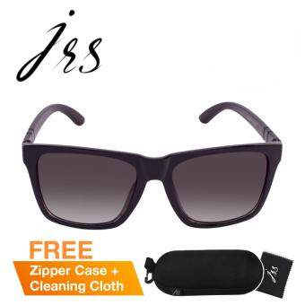 JRS แว่นกันแดดสำหรับทั้งชายและหญิง กรอบทรงสี่เหลี่ยมผืนผ้าสีดำ เลนส์ป้องกันรังสี UV400 แบบไล่เฉดสีสีเทา P4738SD