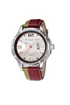 2561 Julius Homme นาฬิกาสำหรับผู้ชาย แดงเขียวหน้าขาว สายหนัง รุ่น JAH-033