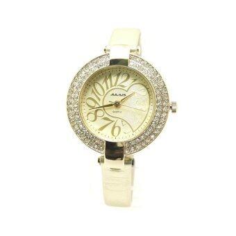 ซื้อ/ขาย Julius นาฬิกาข้อมือผู้หญิง รุ่น JA - 312 หน้าปัดฝัง CRYSTAL สายหนัง - สี Beige
