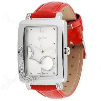 2561 Julius นาฬิกาข้อมือผู้หญิง สายหนัง สีแดง รุ่น JA-447 - สีขาว/แดง