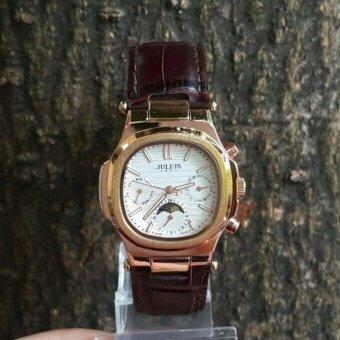 ประเทศไทย Julius รุ่น Ja-902 นาฬิกาข้อมือผู้หญิงสายหนังหน้าปัดเหลี่ยม วง 3 วง