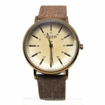 2561 Julius นาฬิกาข้อมือสตรี แท้ รุ่น JA-910-brown สายหนังหุ้มผ้า