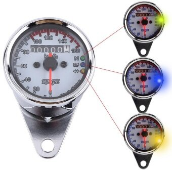 Justgogo Universal Motorcycle Odometer Speedometer with LED Backlight (Silver)