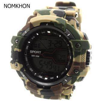 K SPORT นาฬิกาข้อมือผู้หญิงและผู้ชายสไตล์สปอร์ต สายยาง ระบบ Digital (ลายพรางทหาร) : KSP-001-003