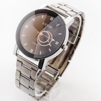 ราคา Kevin นาฬิกาผู้หญิงหน้าปัดและเข็มบอกเวลาทรงกลมสายสแตนเลสสีดำ