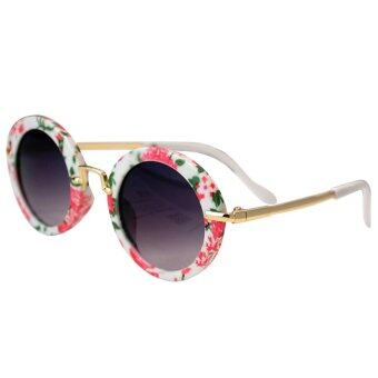 Kids Children Boys Girls Cool Cute Round Sunglasses Metal Frame UV\nProtection Comfortable Wearing Flower Style - intl