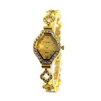 2561 King girl นาฬิกาหน้าปัดแฟชั่นล้อมเพชรสีทอง/ทอง