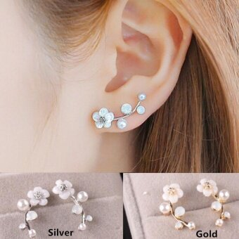 Korean Shells Pearl Flower Silver/Gold Plated Woman Fashion StudEarrings ( Silver ) - intl