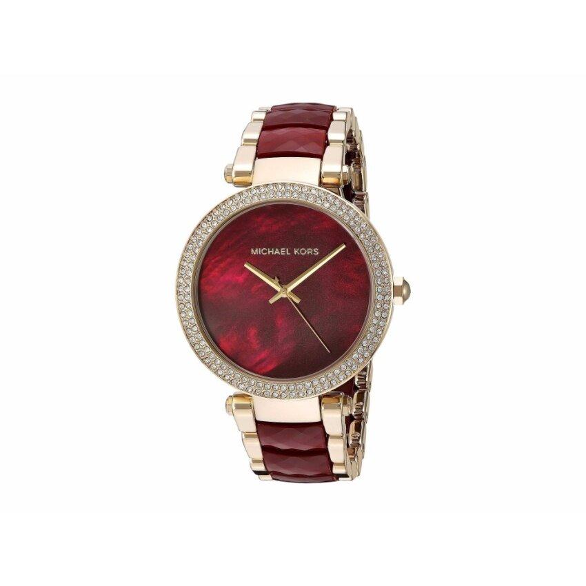 Ladies' Michael Kors Parker Garnet-Red and Gold-Tone Watch MK6427 โปรโมชั่นดีๆของเรา