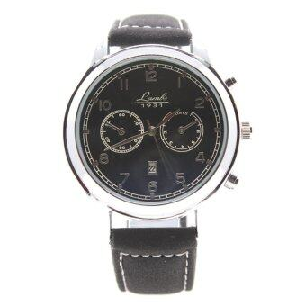ราคา LAMBS นาฬิกาข้อมือผู้ชาย ระบบ Quartz เรือนเหล็ก สายหนังPU เกรด A พร้อมวันที่ หน้าปัดคลาสสิค รุ่น FS-014-017