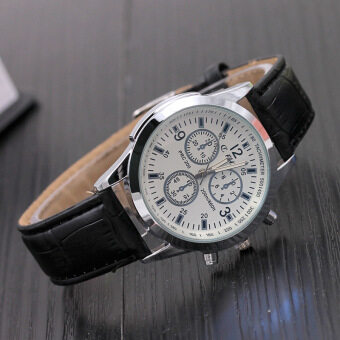 Leather STRAP Casual Business Mens wristwatch ควอตซ์นาฬิกา