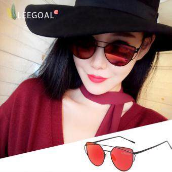 leegoal Fashion Women Sunglasses Sunscreen Anti-UV Color FilmSunglasses , Black And Red - intl