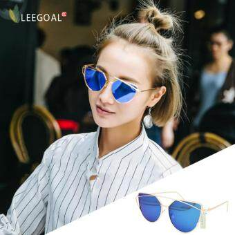 leegoal Fashion Women Sunglasses Sunscreen Anti-UV Color FilmSunglasses ,Gold And Blue - intl