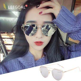 leegoal Fashion Women Sunglasses Sunscreen Anti-UV Color FilmSunglasses , Gold And Sliver - intl