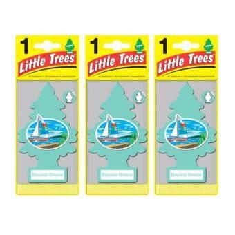 Little Trees® แผ่นน้ำหอมปรับอากาศ รูปต้นไม้ กลิ่น BAYSIDE BREEZEจำนวน 3 ชิ้น