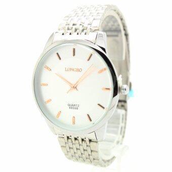 2561 Longbo (vintage) นาฬิกาข้อมือสุภาพบุรุษ-สตรี สายเหล็ก Stainless หน้าปัดเงิน - LB-G4(Silver)
