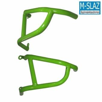 โครงกันล้ม แคชบาร์ M-SLAZ สีเขียว เหล็กหนา