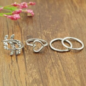 Harga Makiyo 4pcs/Set Fashion Leaf Heart Joint Knuckle Nail Ring Set Four Rings HOT SELL - intl