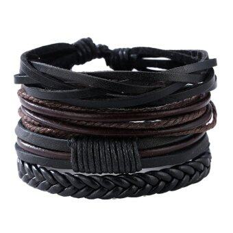 Harga Man European Hot Retro Multilevel Cowhide Handmade Woven Bracelet -intl