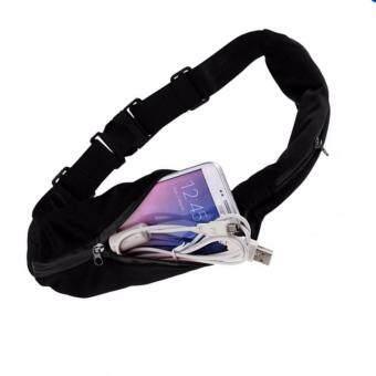 กระเป๋าคาดเอว 2 ซิป กระเป๋าวิ่ง ยืดหดได้ Running Waist Bag สีดำ ซิปสีดำ