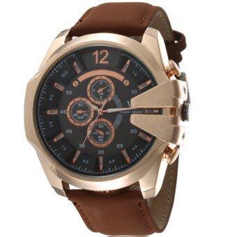 MEGA Luxury Quartz Waterproof Leather Watchband Outdoor Fashion Analog Wristwatch หรูหรานาฬิกาข้อมือ สายหนัง กันน้ำ รุ่น MG0018 (Gold/Brown)