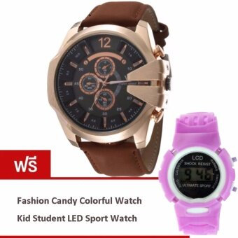 MEGA Luxury Quartz Waterproof Leather Watchband Outdoor Fashion Sport Watch หรูหรานาฬิกาข้อมือ สายหนัง กันน้ำ รุ่น MG0018 (Gold/Dark Brown) (ฟรี Lady Fashion Quartz Watch Leopard Artificial Leather Strap)(Brown)