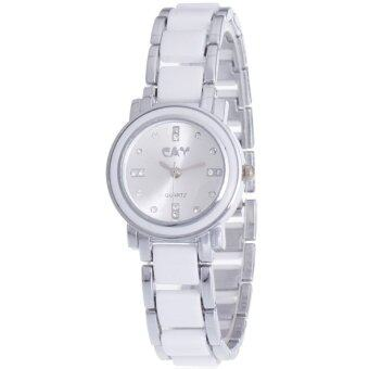 MEGA Quartz Waterproof Fashion Wristwatch หรูหราแฟชั่นนาฬิกาข้อมือผู้หญิง เทคโนโลยีเซรามิก รุ่น MG0009 (White/Silver)